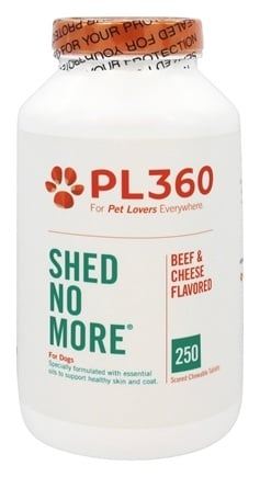 PL360 - Shed No More For Dogs Beef & Cheese Flavored - 250 Chewable Tablets
