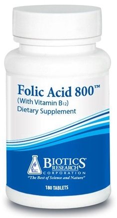 DROPPED: Biotics Research - Folic Acid 800 mcg. - 180 Tablets CLEARANCE PRICED