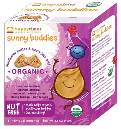 DROPPED: HappyFamily - Happy Times Organic Sunny Buddies Sunflower Butter and Berry Jams Bites - 3.5 oz. CLEARANCE PRICED