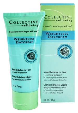 DROPPED: Collective Wellbeing - Weightless Daycream For Face with Chamomile & Aloe Vera Unscented - 2 oz.