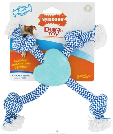 DROPPED: Nylabone - Dura Toy Rope & Heart For Teething Puppies Chicken - CLEARANCE PRICED