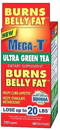 DROPPED: Mega-T - Ultra Green Tea Fat Burning Supplement - 120 Caplets CLEARANCE PRICED