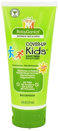 DROPPED: BabyGanics - Cover-Up Kids Sunscreen Lotion For Face & Body Waterproof Fragrance Free 30 SPF - 6 oz.