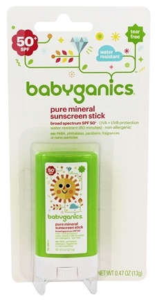 BabyGanics - Sunscreen Stick Pure Mineral Water Resistant Fragrance Free 50 SPF - 0.47 oz.