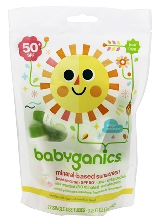 DROPPED: BabyGanics - Sunscreen Mineral Based Single Use Tubes Fragrance Free 50 SPF - 12 Tubes