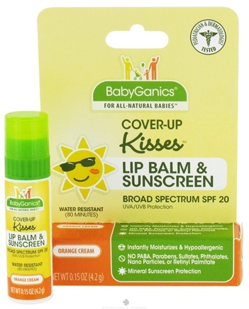 DROPPED: BabyGanics - Cover-Up Kisses Lip Balm & Sunscreen Water Resistant Orange Cream 20 SPF - 0.15 oz.