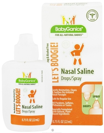 DROPPED: BabyGanics - Nasal Saline Drops/Spray Let's Boogie! Alcohol Free - 0.75 oz. CLEARANCE PRICED