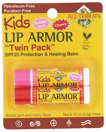 DROPPED: All Terrain - Kids Lip Armor Protection & Healing Bubble Gum/Cherry Flavor SPF25 (2 x 0.15 oz) - 2 Tubes CLEARANCE PRICED