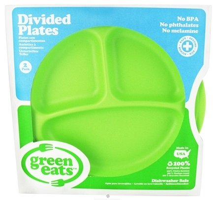 DROPPED: Green Eats - Divided Plates Green - 2 Pack CLEARANCE PRICED