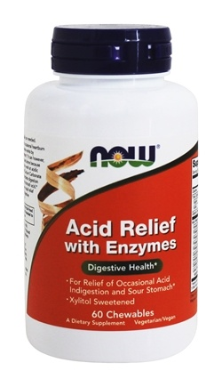 NOW Foods - Acid Relief with Enzymes - 60 Chewable Tablets