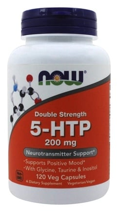 NOW Foods - 5-HTP Double Strength 200 mg. - 120 Vegetarian Capsules