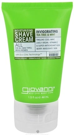 DROPPED: Giovanni - Moisturizing Shave Cream Invigorating Tea Tree & Mint - 1.5 oz. Travel Size CLEARANCE PRICED