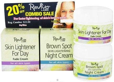 DROPPED: Reviva Labs - Skin Lightener For Day Fade Cream & Brown Spot Skin Lightening Night Cream - 2 x 1.5 oz. Combo Pack