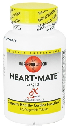 DROPPED: Mushroom Wisdom - Heart Mate CoQ10 with SX Fraction - 120 Vegetarian Tablets CLEARANCE PRICED