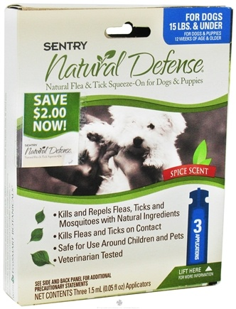 DROPPED: Sergeant's Pet Care - Sentry Natural Defense Flea & Tick Squeeze-On For Dogs Under 15 lbs. Spice Scent - 3 Applications