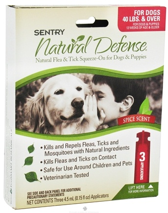 Zoom View - Sentry Natural Defense Flea & Tick Squeeze-On For Dogs 40 lbs. & Over