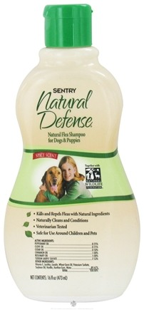 DROPPED: Sergeant's Pet Care - Sentry Natural Defense Flea Shampoo For Dogs Spice Scent - 16 oz. CLEARANCE PRICED