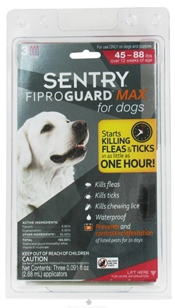 DROPPED: Sergeant's Pet Care - Sentry FiproGuard Max For Dogs 45-88 lbs. - 3 Applications CLEARANCE PRICED