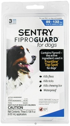DROPPED: Sergeant's Pet Care - Sentry FiproGuard For Dogs 89-132 lbs. - 3 Applications,CLEARANCE PRICED