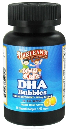 DROPPED: Barlean's - Omega Kid's DHA Bubbles Orange Cream Flavor 250 mg. - 90 Chewable Softgels