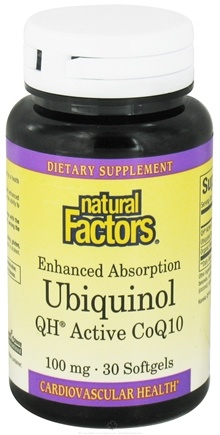 DROPPED: Natural Factors - Ubiquinol QH Active CoQ10 100 mg. - 30 Softgels CLEARANCE PRICED