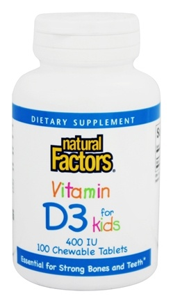Natural Factors - Vitamin D3 for Kids 400 IU - 100 Chewable Tablets