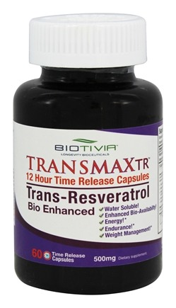 DROPPED: Biotivia - Transmax TR (Timed Release) Trans-Resveratrol 500 mg. - 60 Tablets