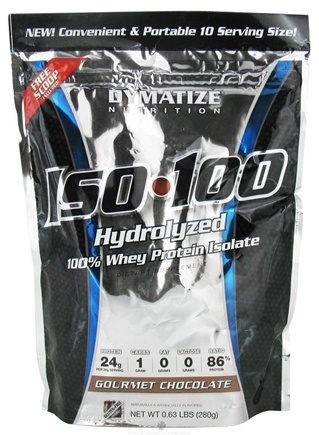 DROPPED: Dymatize Nutrition - ISO 100 100% Hydrolyzed Whey Protein Isolate - 10 Servings Gourmet Chocolate - 280 Grams CLEARANCE PRICED