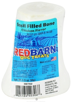 DROPPED: Redbarn - Filled Bone Small Dog Treat 3 in. Chicken Flavor - 3.5 oz. CLEARANCE PRICED