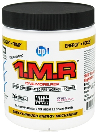 DROPPED: BPI Sports - 1 M.R Ultra Concentrated Pre-Workout Powder - 28 Servings Grape Bubble Gum - 244 Grams CLEARANCE PRICED
