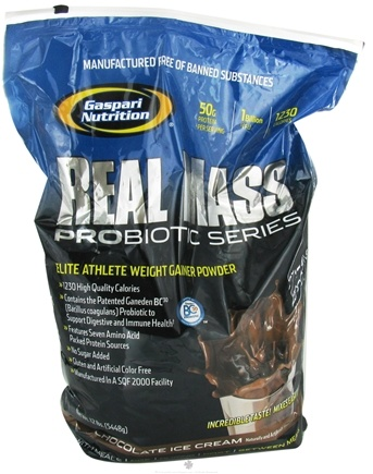 DROPPED: Gaspari Nutrition - Real Mass Probiotic Series Chocolate Ice Cream - 12 lbs. CLEARANCE PRICED