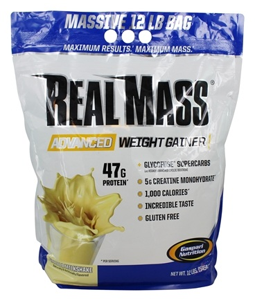 Gaspari Nutrition - Real Mass Advanced Weight Gainer Vanilla Milkshake - 12 lbs. Formerly Real Mass Probiotic Series