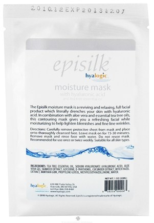 DROPPED: Hyalogic - Episilk Moisture Mask with Hyaluronic Acid and Tea Tree Oil - 1 oz. CLEARANCE PRICED