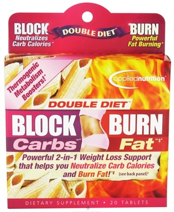 DROPPED: Applied Nutrition - Double Diet Block Carbs Burn Fat with White Kidney Bean Extract - 20 Tablets CLEARANCE PRICED