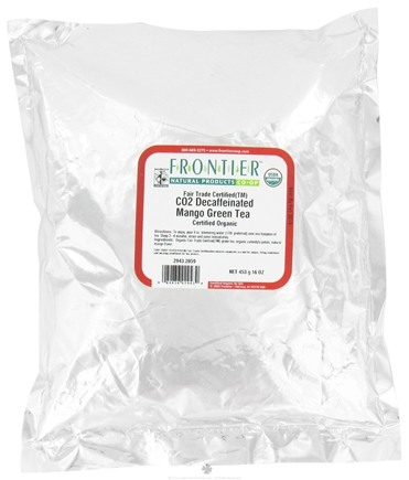 DROPPED: Frontier Natural Products - Bulk Green Tea Organic Decaffeinated Mango - 1 lb. CLEARANCE PRICED