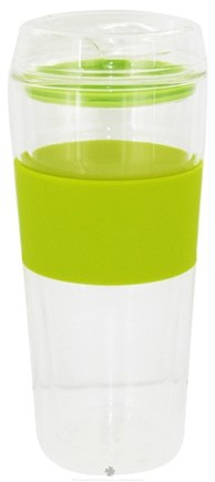 Zoom View - Double Wall Glass Tumbler and Lid with Green Silicone Grip