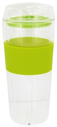 DROPPED: Takeya USA - Double Wall Glass Tumbler and Lid with Green Silicone Grip - 16 oz.