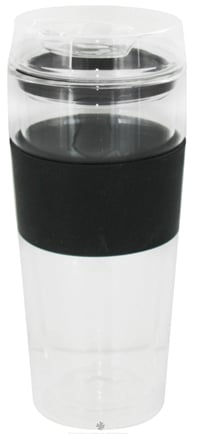 DROPPED: Takeya USA - Double Wall Glass Tumbler and Lid with Black Silicone Grip - 16 oz.
