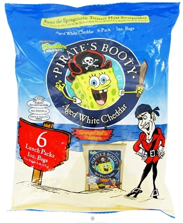 DROPPED: Pirate Brands - Pirate's Booty Baked Rice and Corn Puffs (6 x 1.0 oz) Aged White Cheddar - 6 oz. CLEARANCE PRICED