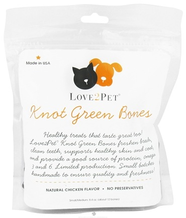 DROPPED: Love2Pet - Knot Green Bones Small/Medium For Dogs Chicken Flavor - 8.4 oz. CLEARANCE PRICED