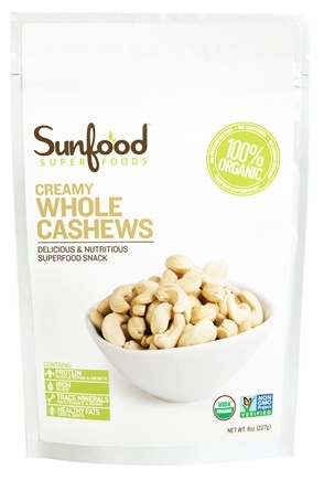 DROPPED: Sunfood Superfoods - Organic Creamy Whole Cashews - 8 oz. CLEARANCE PRICED