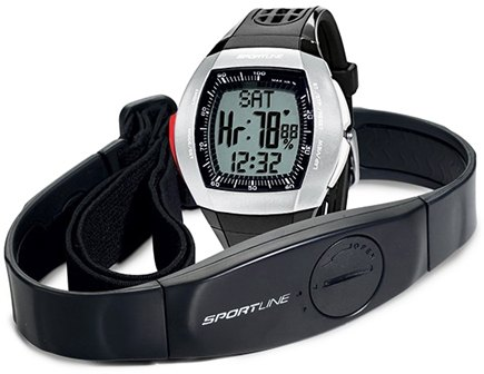 DROPPED: Sportline - Duo 1025 Dual-Use Heart Rate Monitor Watch Designed for Men Black - 1 Monitor(s) CLEARANCE PRICED