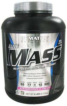 DROPPED: Dymatize Nutrition - Elite Mass Gainer Hi-Protein Muscle Gainer Strawberries and Cream - 6 lbs. CLEARANCE PRICED