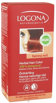 DROPPED: Logona - Herbal Hair Color 100% Botanical Henna Red - 3.5 oz. CLEARANCE PRICED