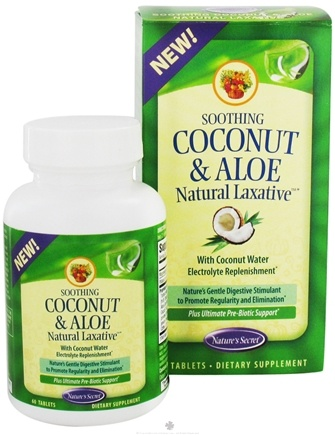 DROPPED: Nature's Secret - Soothing Coconut and Aloe Natural Laxative with Coconut Water - 60 Tablets CLEARANCE PRICED