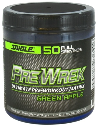 DROPPED: Swole Sports Nutrition - PreWrek Ultimate Pre-Workout Matrix Green Apple - 370 Grams CLEARANCE PRICED