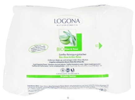 DROPPED: Logona - Facial Cleansing Tissues Organic Aloe & Rose - 25 Tissue(s)