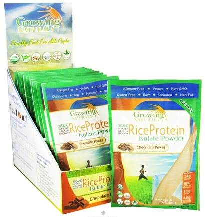 DROPPED: Growing Naturals - Organic Rice Protein Chocolate Power - 1.2 oz. Packet
