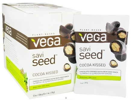 DROPPED: Vega - SaviSeed Cocoa Kissed Inca Peanuts - 12 x 1 oz. (28g) Snack Packs - CLEARANCE PRICED