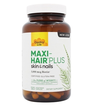 Country Life - Maxi-Hair Plus Maximized 5,000 mcg Biotin - 120 Vegetarian Capsules